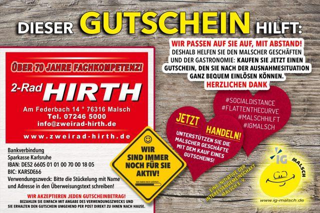 2-Rad Hirth Gutschein ~ MALSCH hilft!