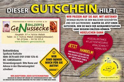 Balzer´s GeNussecke Gutschein ~ MALSCH hilft!