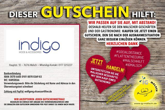indigo Gutschein ~ MALSCH hilft!