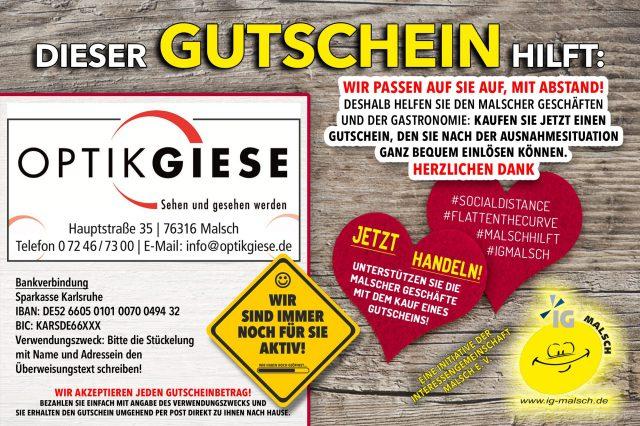 Optik Giese Gutschein ~ MALSCH hilft!