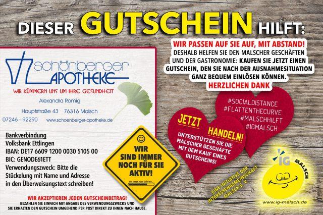 Schönberger Apotheke Gutschein ~ MALSCH hilft!