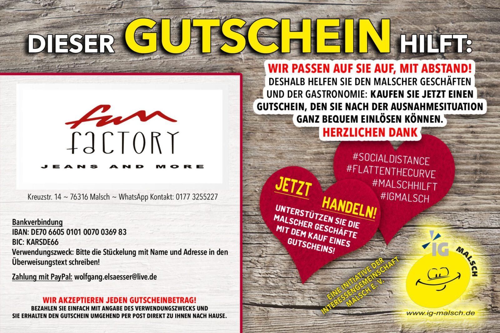 Fun Factory Gutschein ~ Malsch hilft